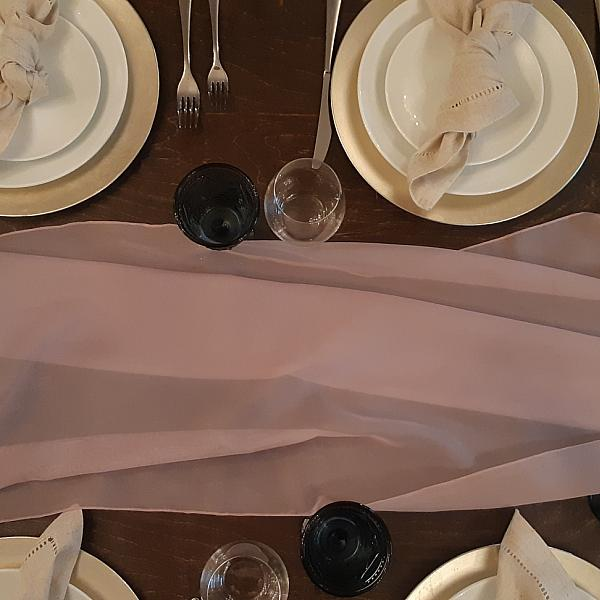Table Runner, Sheer - Shadow Grey