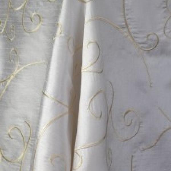 "Table Overlay - Raw Silk - White 70"" x 70"""