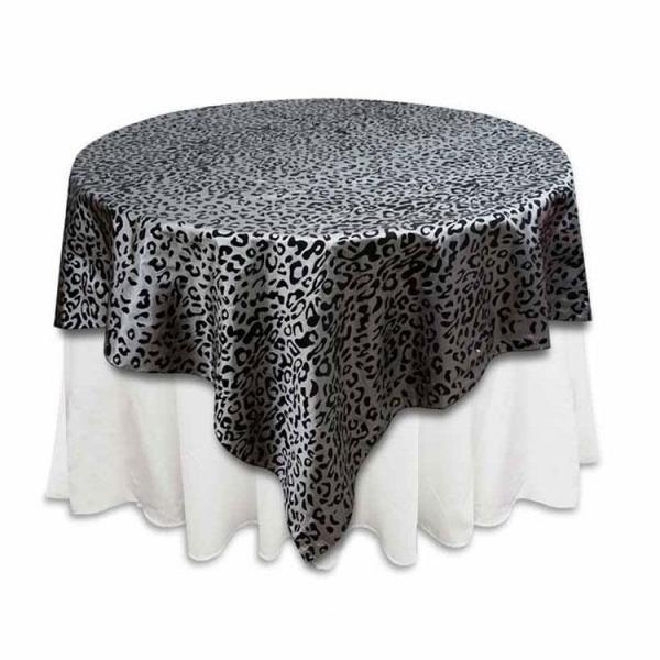 "Table Overlay - Leopard Print - Black & Silver 72"" x 72"""