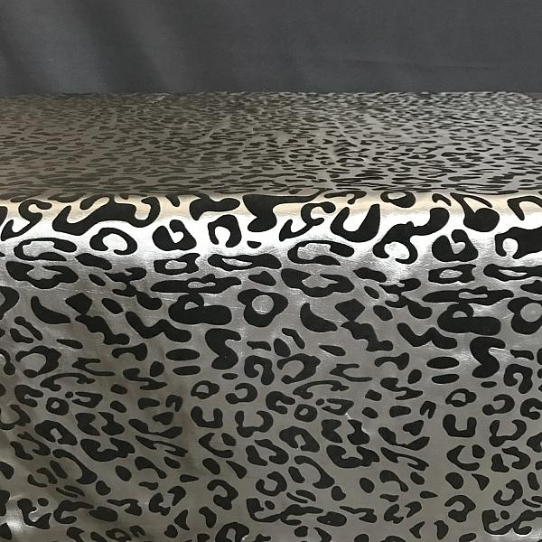 "Table Overlay - Leopard Print - Black & Silver 72"" x 72"""