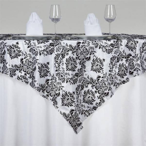 "Table Overlay -Damask -Black & White 72"" x 72"""