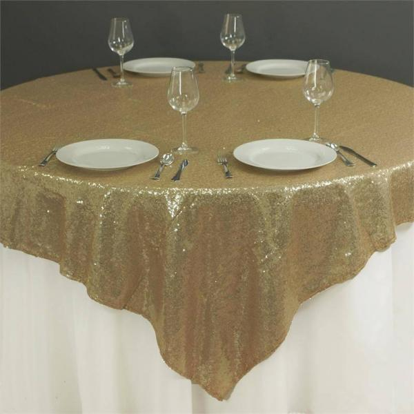"""Table Overlay - Sequin - Champagne Gold 72"""" x 72"""""""