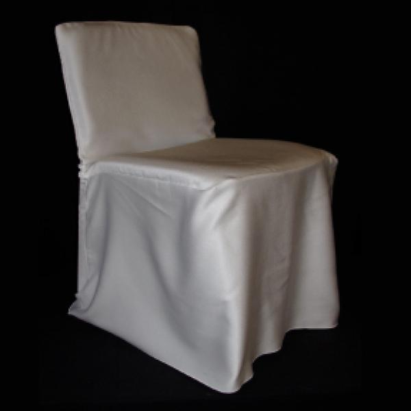 Chair Cover - Satin - Square Back - White