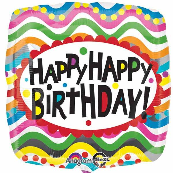 "Mylar - 18"" - Birthday Squiggles"