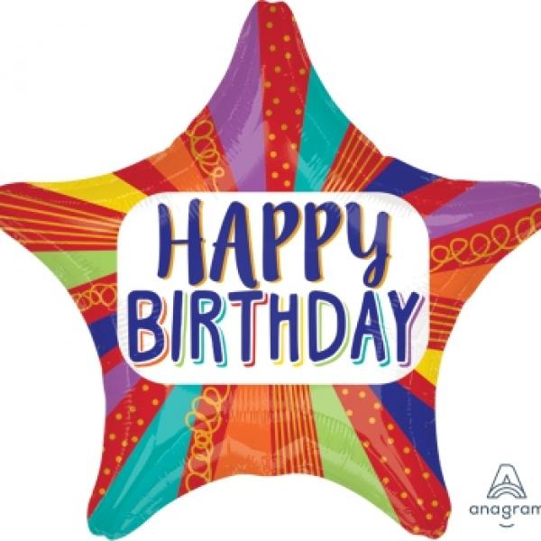 "Mylar - 18"" - Happy Birthday Striped Star"