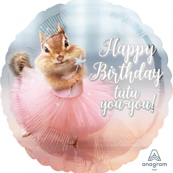 """Mylar - 18"""" - Happy Birthday Tu Tu"""