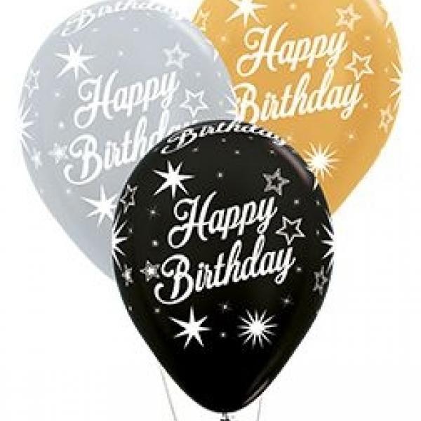 "Balloon - 11"" Latex - Happy Birthday Sparkles"