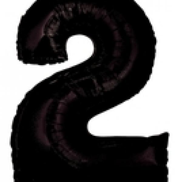 """Mylar - 40"""" - Black Number - #2"""