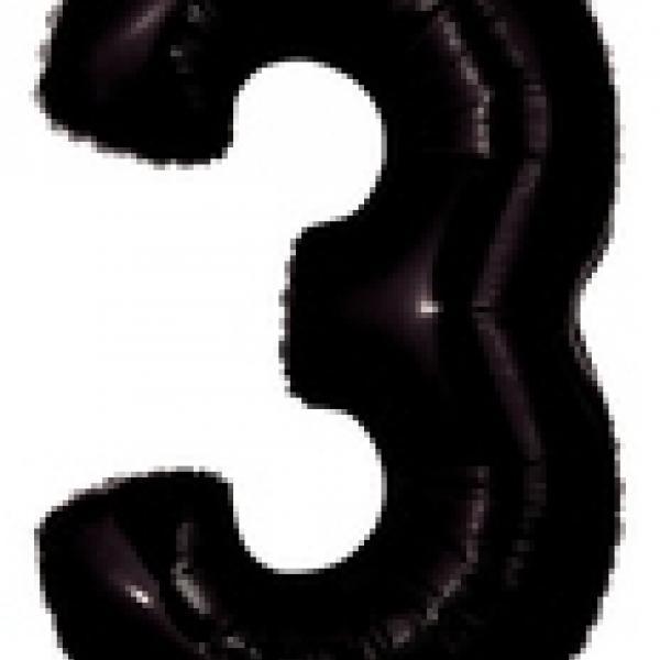"""Mylar - 40"""" - Black Number - #3"""