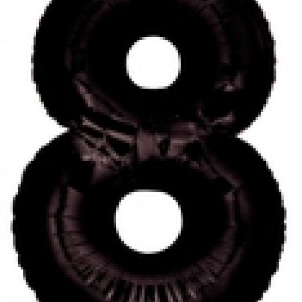 """Mylar - 40"""" - Black Number - #8"""