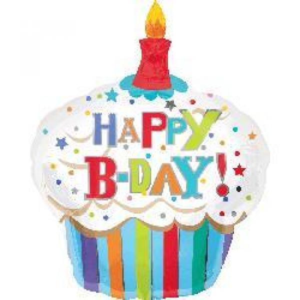 """Mylar - 29"""" x 36"""" Birthday Cupcake"""
