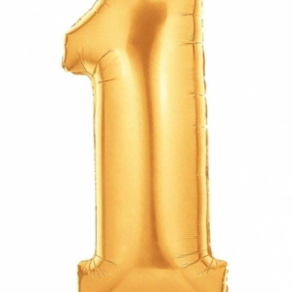 """Mylar - 40"""" - Gold Number - #1"""