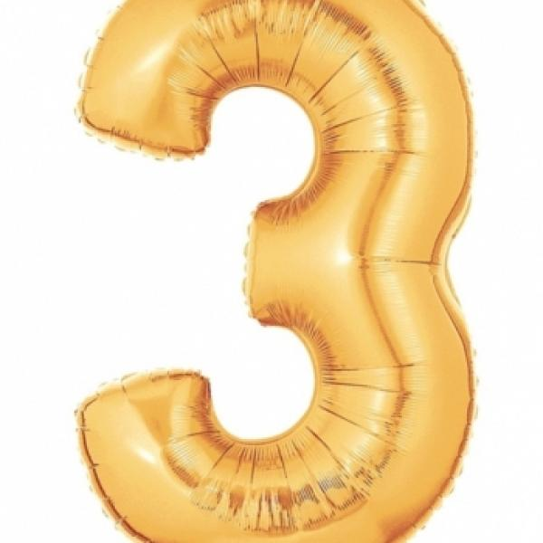 """Mylar - 40"""" - Gold Number - #3"""