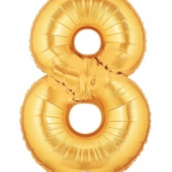 """Mylar - 40"""" - Gold Number - #8"""