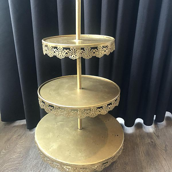 "Treat Stand - 3 Tier 23"" h - Gold"