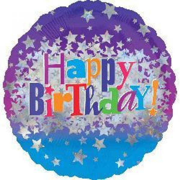 "Mylar - 18"" - Happy Birthday Holographic"