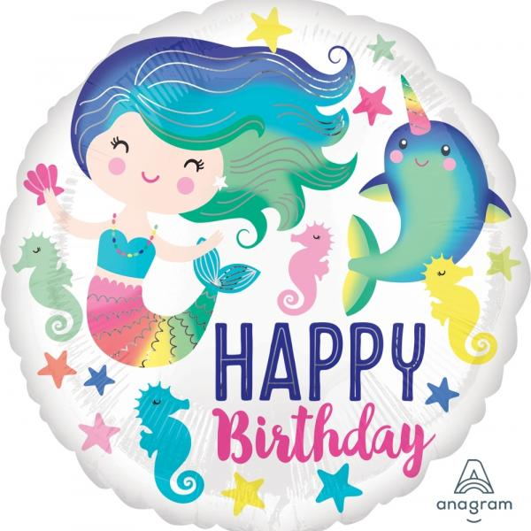 "Mylar - 18"" - Happy Birthday Mermaid"