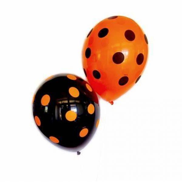"""Latex - 11"""" - Black & Orange Polka Dot"""