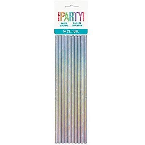 Paper Straws - Silver/Iridescent