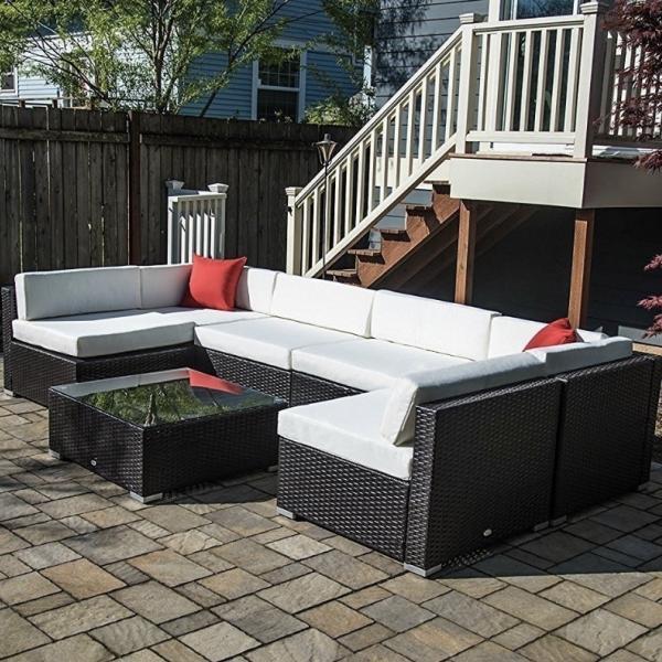 Modular Seating, Outdoor Rattan - 7 Pieces