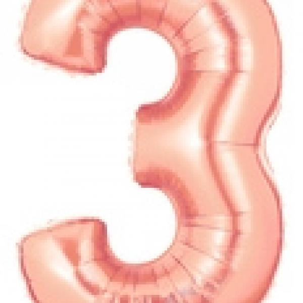 "Mylar - 40"" - Rose Gold Number - #3"