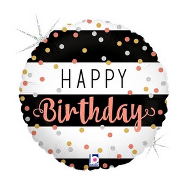 """Mylar - 18"""" - Happy Birthday Rose Gold Confetti"""