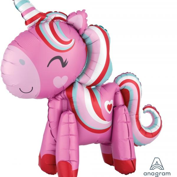 "Mylar - Love Unicorn - AIR FILLED 22"" X 21"""